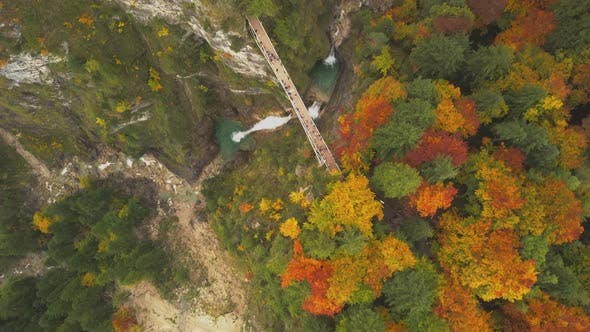 Thumbnail for AERIAL: Bridge in Mountains and Forest Over Waterfall in Germany, Colourful Summer
