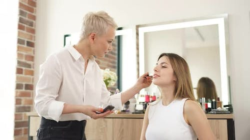 Process of Making Makeup in Beauty Salon