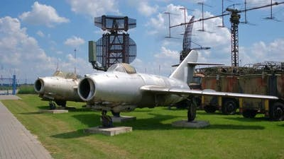 Old Jet Fighter Aircrafts in National Aviation Exhibition Outdoors