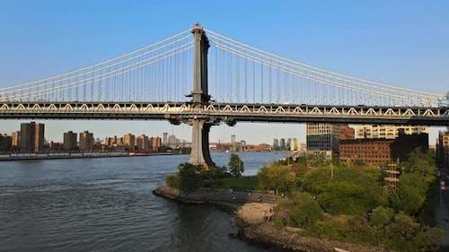 Over Manhattan New York City Beautiful with Manhattan Bridge