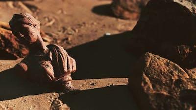 Ancient Woman Bust at Sand Beach
