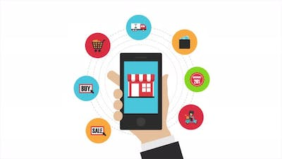 Animation Online shopping on smartphone app