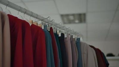 Clothes Rail in Modern Shop