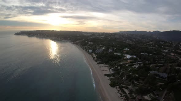 Thumbnail for Escondido Beach Malibu California Coastline Aerial Overhead View At Sunset