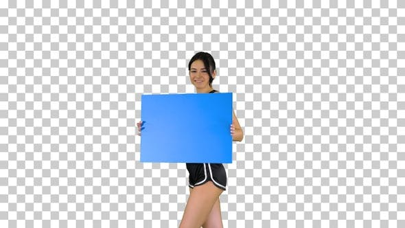 Thumbnail for Ring girl holding empty board announcing new round, Alpha Channel