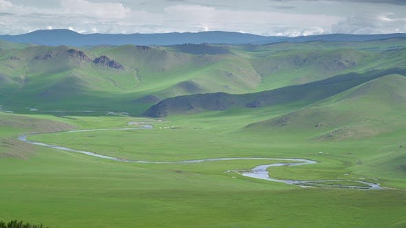 Obi River Flowing Through The Vast Empty Meadows in in Siberia of Asia Continent