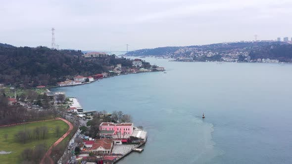 Thumbnail for Istanbul Bosphorus Bridge Aerial View 2