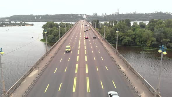 Thumbnail for Paton Bridge Across the Dnipro River in Kyiv, Ukraine. Aerial View
