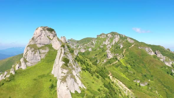 Flying in the Carpathians Mountains, Romania