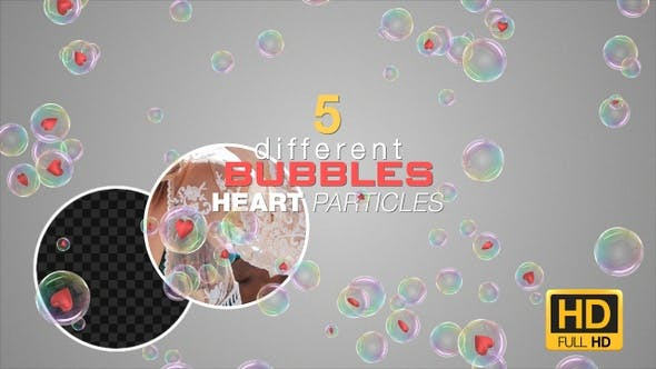 5 Colorful Heart Particles Royalty Free Stock Video Footage