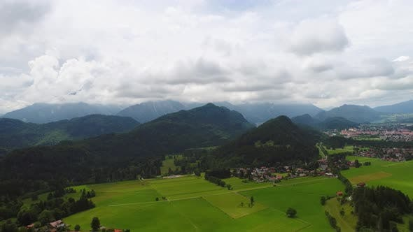 Panorama From the Air Forggensee and Schwangau Germany Bavaria