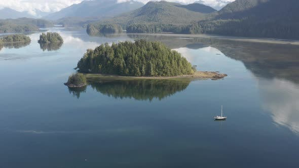 Thumbnail for Tofino Island and Boat Aerial View