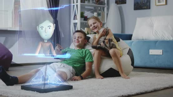Thumbnail for Children Watching Holographic Animated Movie