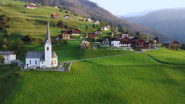 Scenery of Austrian Country Houses on Mountains