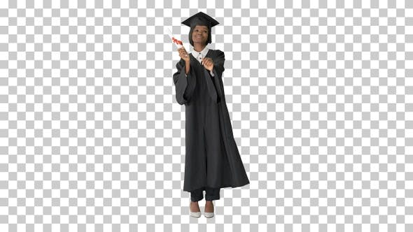 Thumbnail for Happy afro graduating female student dancing, Alpha Channel
