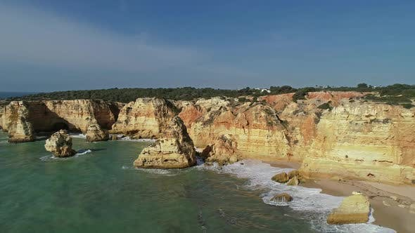 Thumbnail for Aerial View on Cliffs and Waves in Algarve
