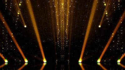 Golden Stage With Spotlights