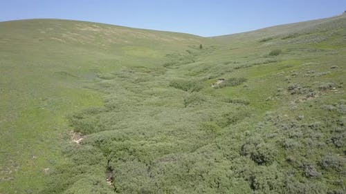 Luftaufnahme Drohne Up Drainage oder Draw in Mountain in Bighorn Mountains Sommer