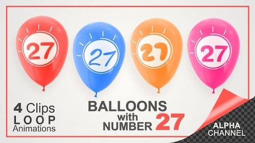 Balloons With Number 27 / Happy Twenty-Seven Years Old