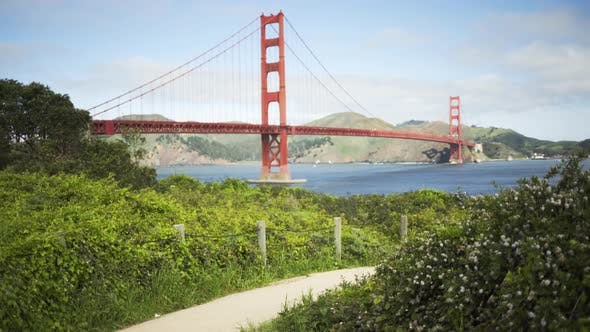 Thumbnail for View of the Golden Gate bridge from a hiking trail in the San Francisco bay