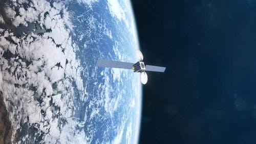 Animation réaliste d'un satellite en orbite de la planète Terre