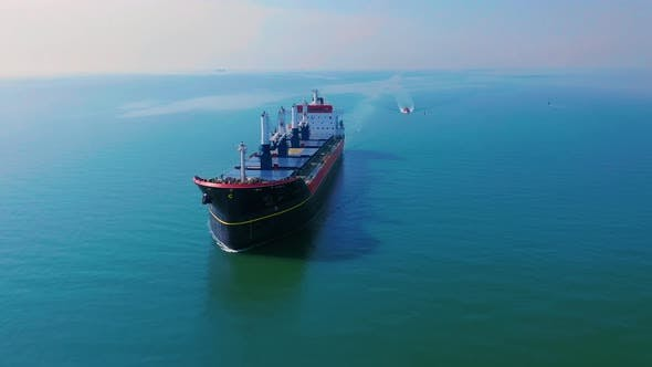 Aerial View of Huge Ship Floating in the Sea
