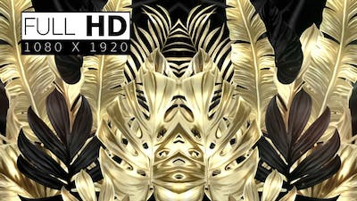 Black And Golden Tropical Leaves Background 02