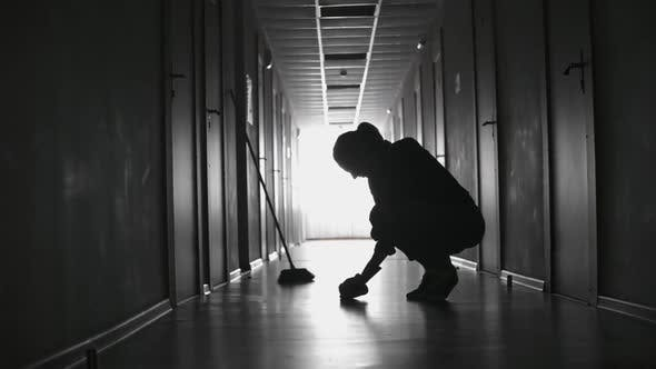 Thumbnail for Silhouette of Female Cleaner Scrubbing Floor