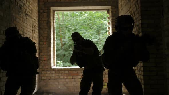 Military Soldiers Storming the Enemy Building