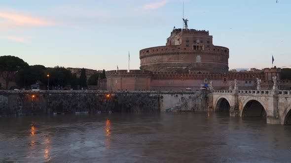 Thumbnail for View On Famous Saint Angel Castle and Bridge