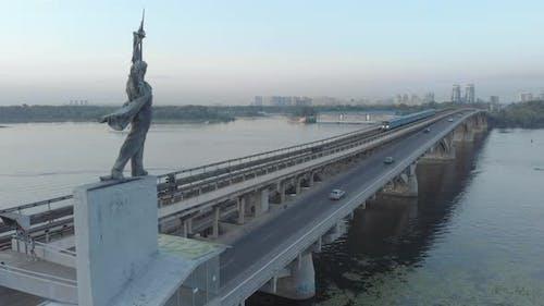 Aerial View of the Metro Bridge. Station Dnipro. Kyiv, Ukraine.