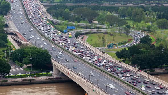 Thumbnail for Guangzhou Bridge Highway Traffic Aerial Cityscape Panorama China Timelapse Pan Up