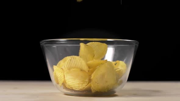 Thumbnail for Groved Potato Chips Falls in Slow Motion To the Bowl, Groved Fried Potatoes, Snacks for Beer
