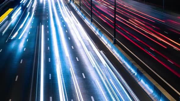 Fast Cars On Night City Highway 3