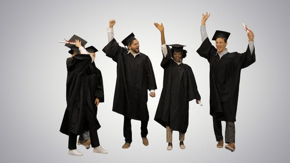Thumbnail for Happy friends graduates join hands together The concept