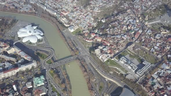 Thumbnail for Top Aerial view of Baratashvili Bridge and Public Registry. Tbilisi Georgia