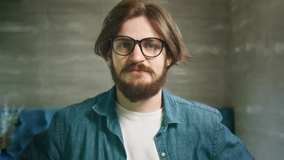 Thumbnail for Bearded Man in Eyeglasses Portrait