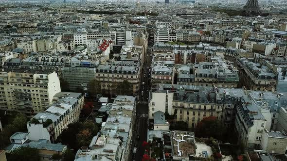 Thumbnail for Aerial Drone View Paris City Away From Eiffel Tower Move Camera From Down To Top, France