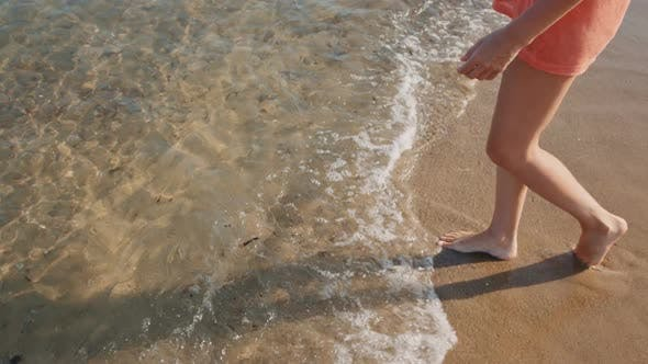 Thumbnail for Woman Go Into the Clear Sea Water