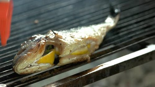 Stuffed Fish on Grill.