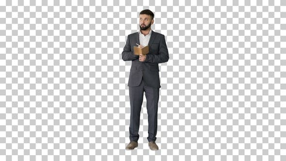 Thumbnail for Concentrated young man in formalwear holding, Alpha Channel