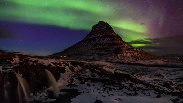 Thumbnail for Northern Light Aurora Borealis at Kirkjufell in Iceland