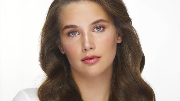 Thumbnail for Close-up of Pretty Girl with Perfect Light Make-up and Beautiful Hair