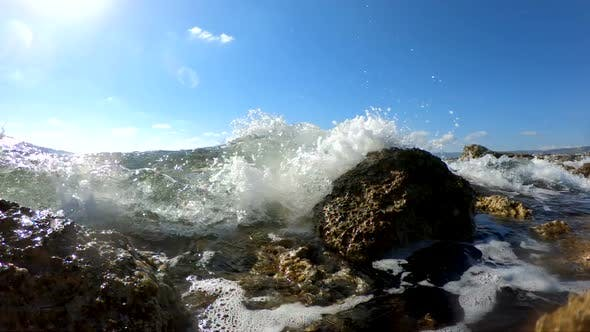 Thumbnail for Sea Waves Crushing on a Rocky Beach