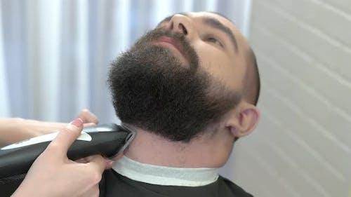 Beard Trimming in Barber Shop