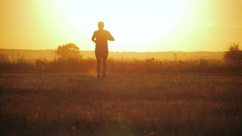 Running Man Silhouette in Sunset Time. Outdoor Cross-country Running. Athletic Young Man Is Running
