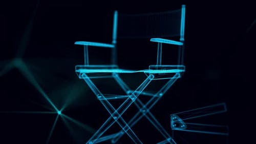 directors chair hologram Close up 4k