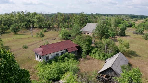 Aerial View of Rural Houses in Chernobyl Zone
