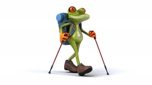 Thumbnail for Fun backpacker frog walking