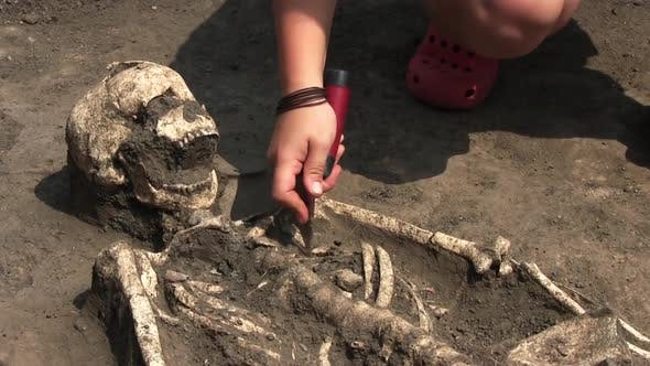 An Archeologist Is Excavating A Skeleton Of A Woman